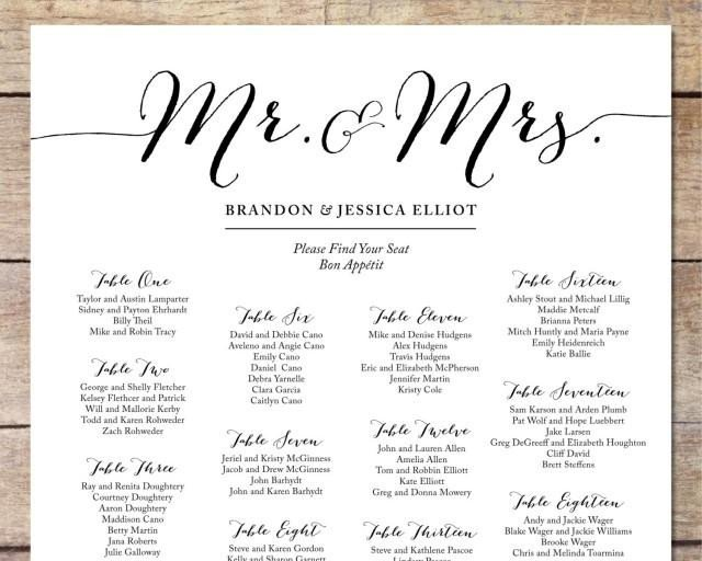 Printable Wedding Seating Chart Simple Wedding Seating Chart Romantic Wedding