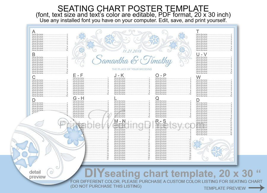 Printable Wedding Seating Chart Wedding Seating Chart Poster Template Printable Diy Reception