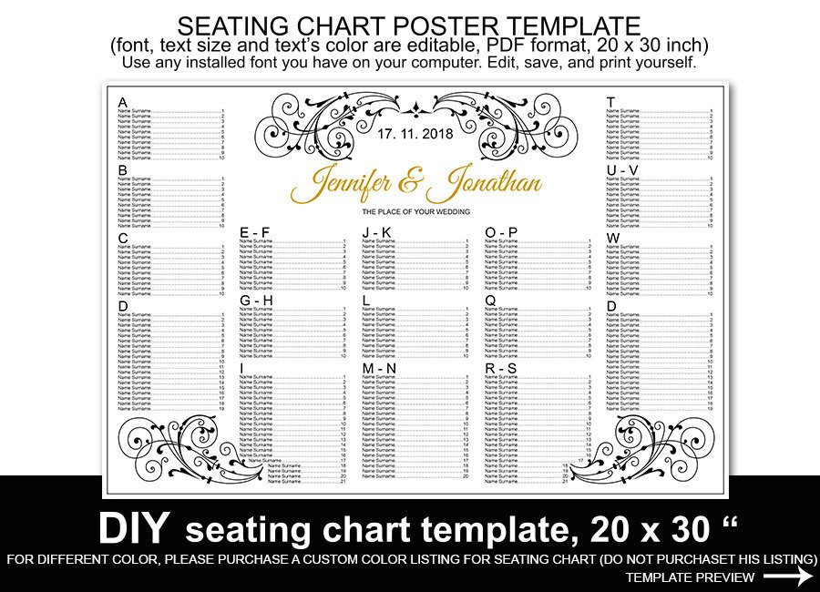 Printable Wedding Seating Chart Wedding Seating Chart Poster Template Printable Reception