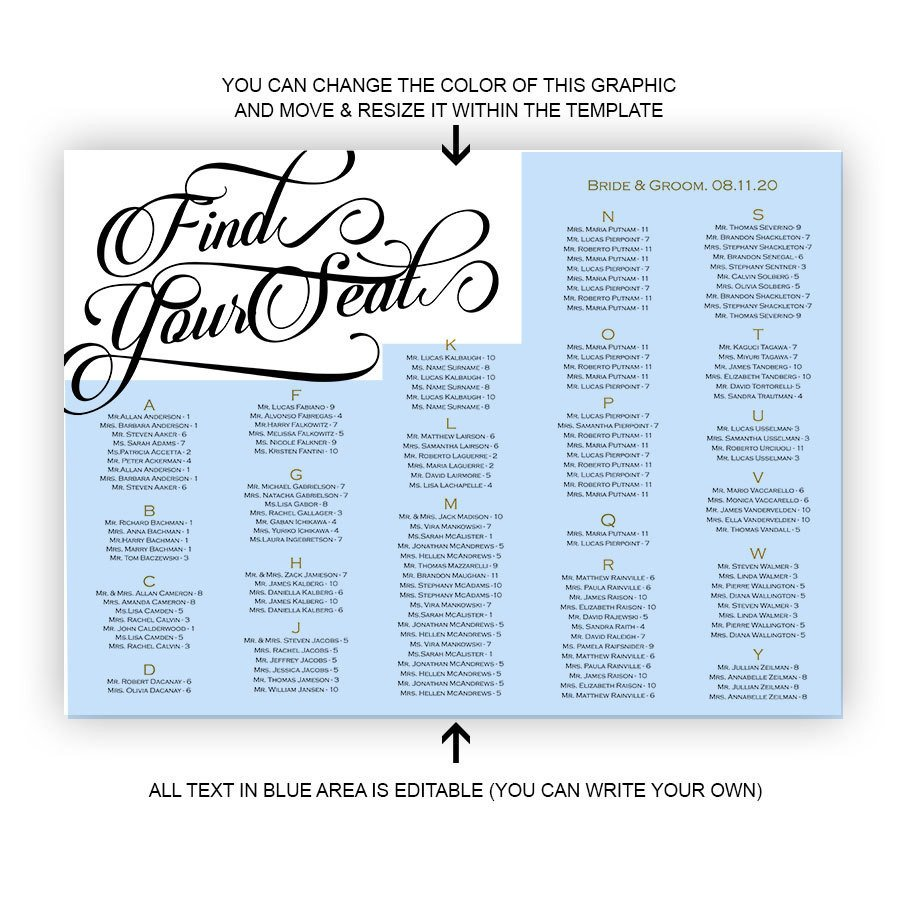 Printable Wedding Seating Chart Wedding Seating Chart Template Printable Seating Chart