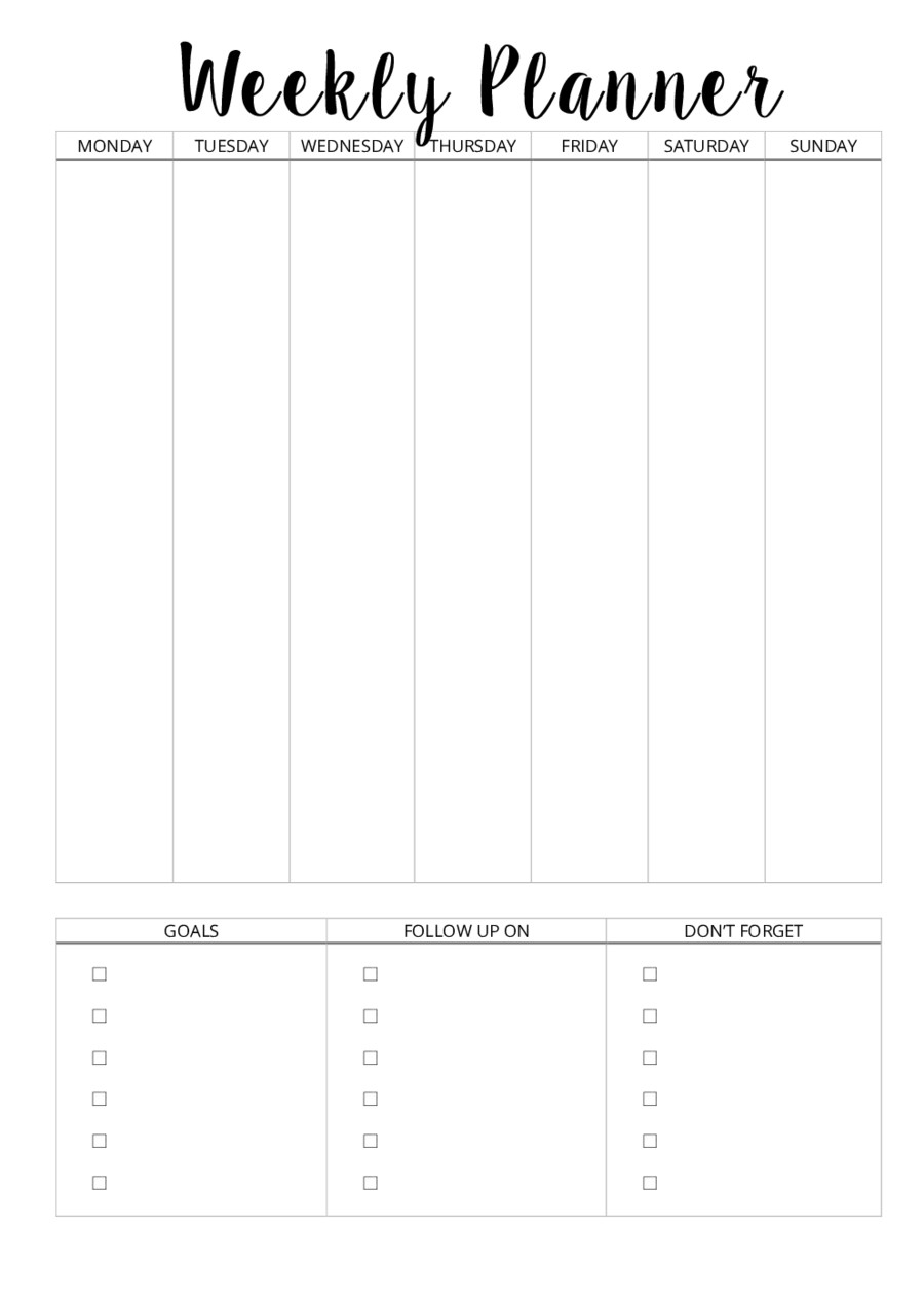 Printable Weekly Planner Template 2019 Weekly Planner Template Fillable Printable Pdf