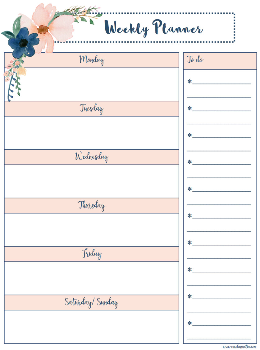 Printable Weekly Planner Template Free Printable Weekly Planner – Our Class Nation