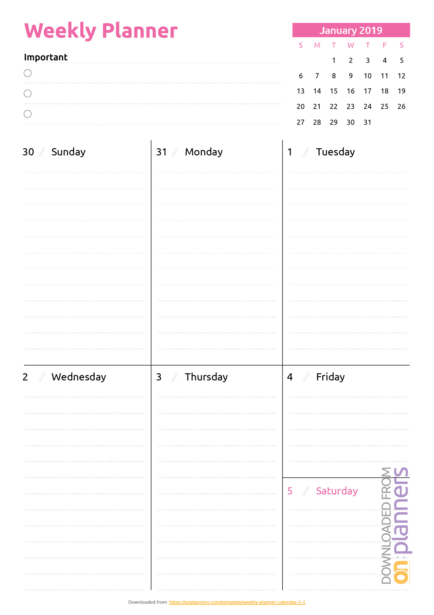 Printable Weekly Planner Template Free Printable Weekly Planner Templates Download Pdf
