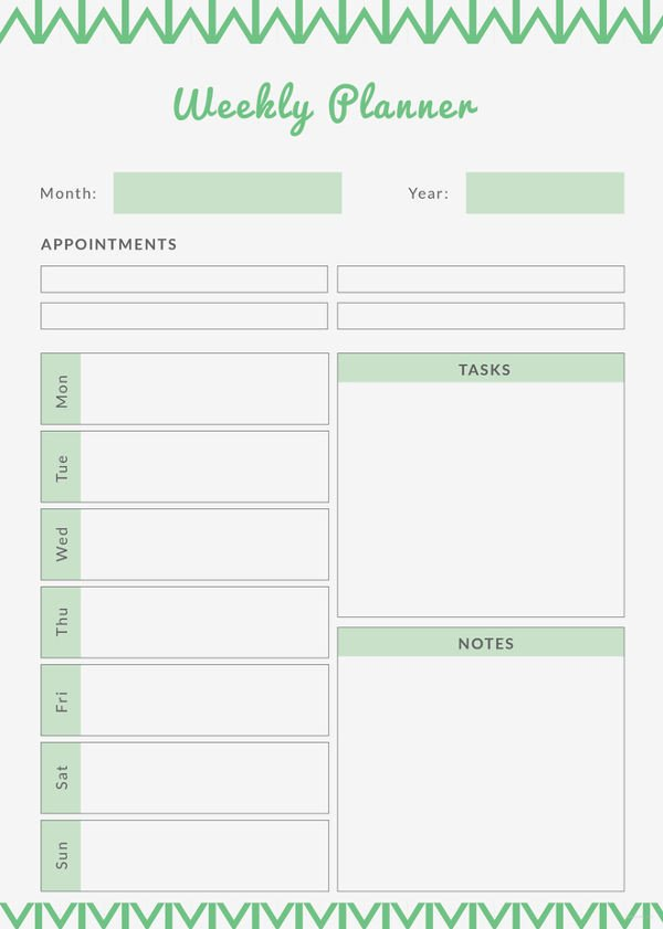 Printable Weekly Planner Template Printable Weekly Planner 11 Free Pdf Documents Download