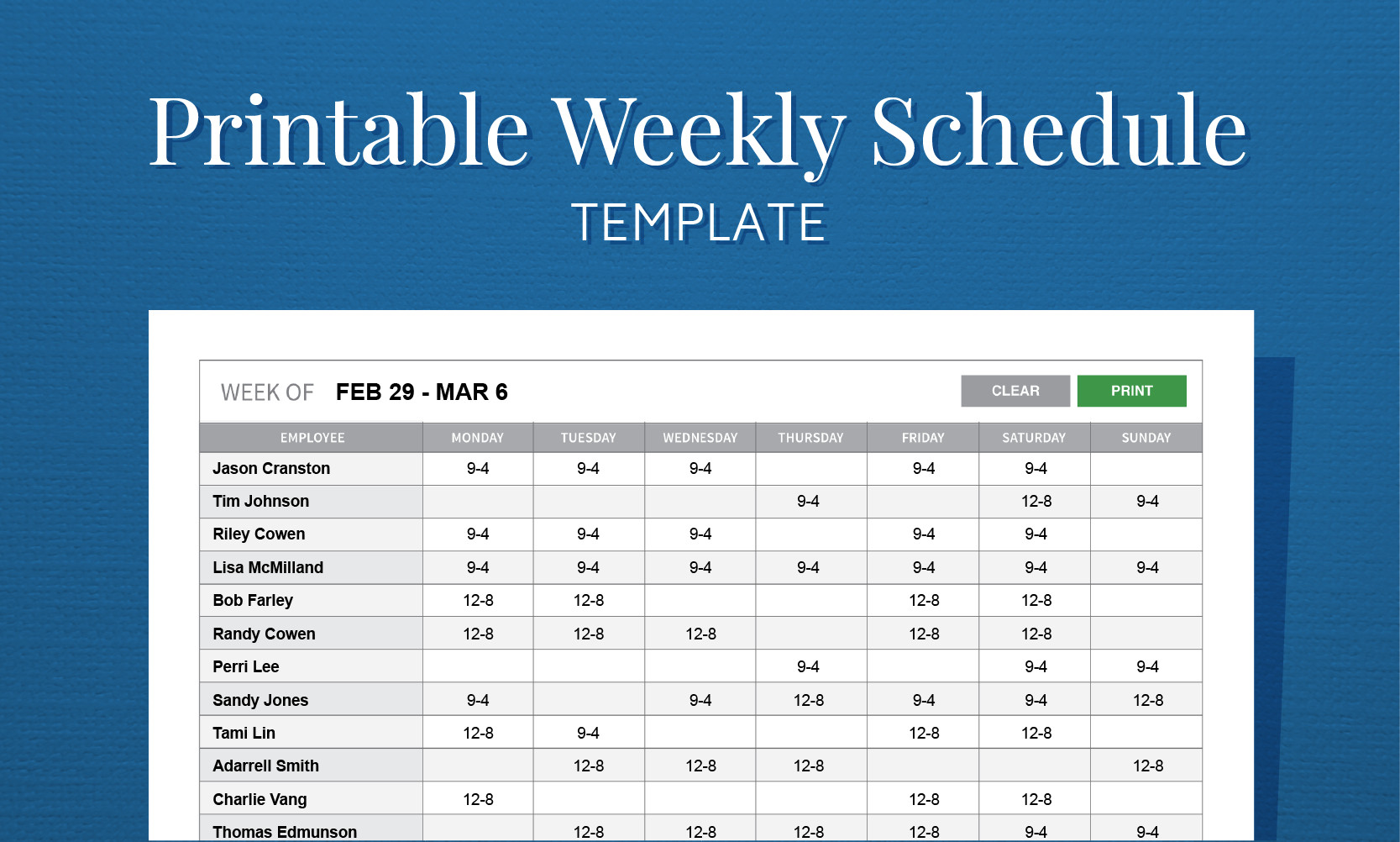 Printable Weekly Schedule Template Free Printable Weekly Work Schedule Template for Employee