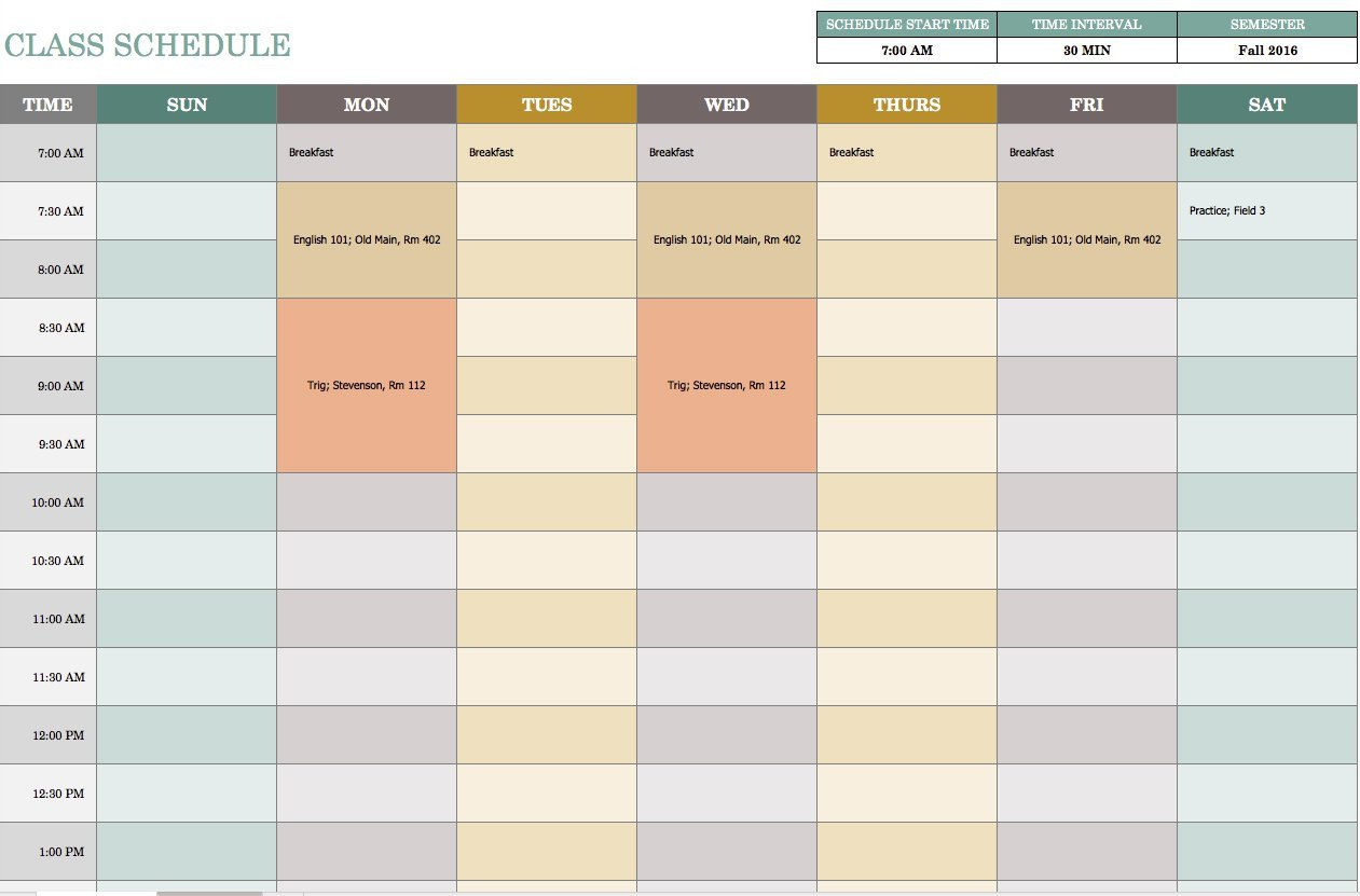 Printable Weekly Schedule Template Free Weekly Schedule Templates for Excel Smartsheet