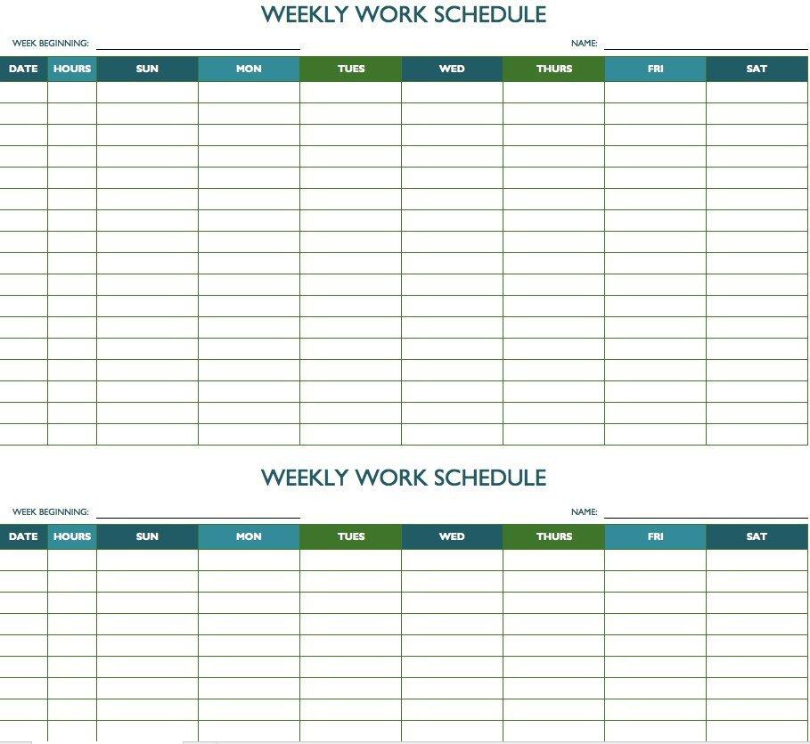 Printable Weekly Schedule Template Free Weekly Schedule Templates for Excel Smartsheet