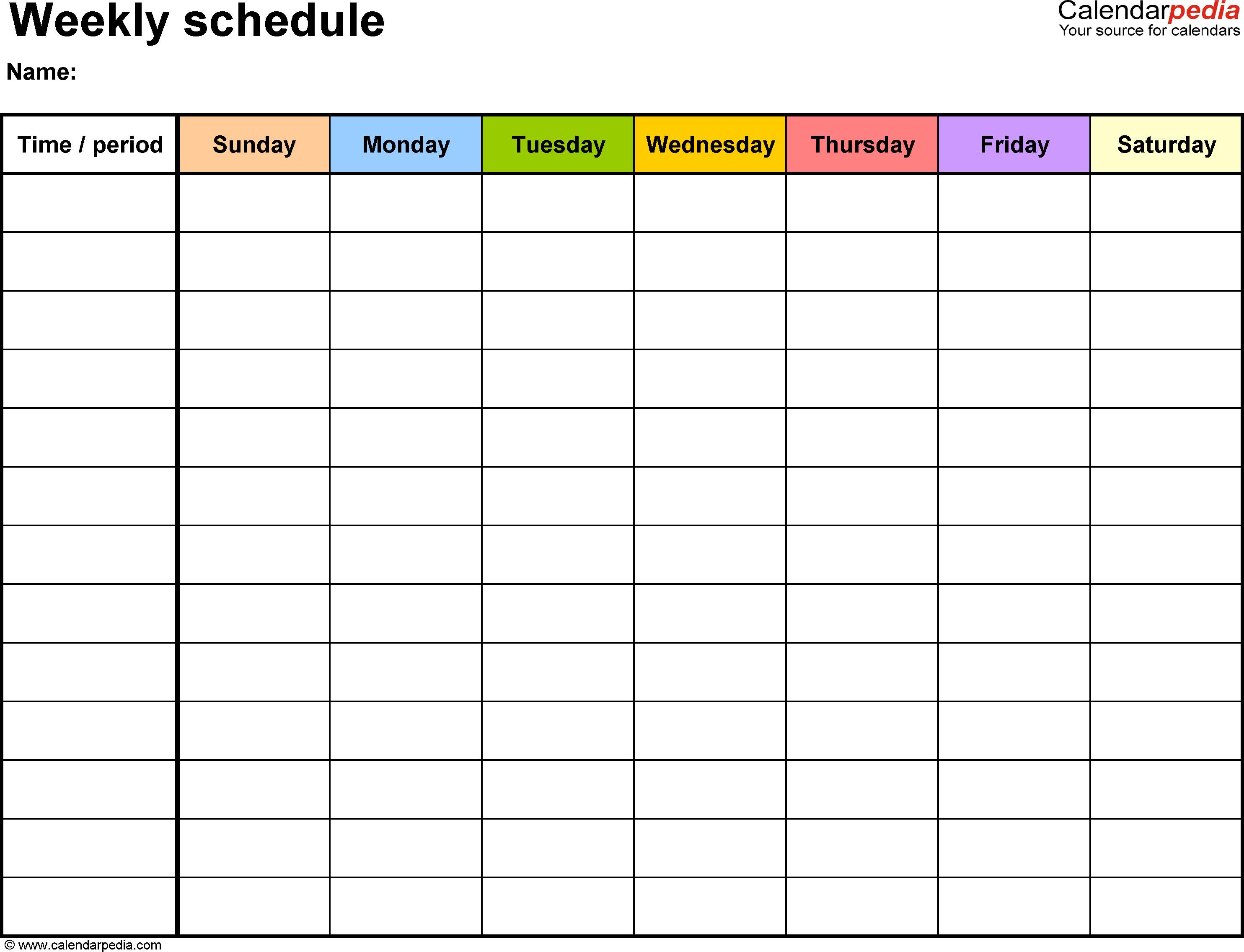 Printable Weekly Schedule Template Free Weekly Schedule Templates for Word 18 Templates