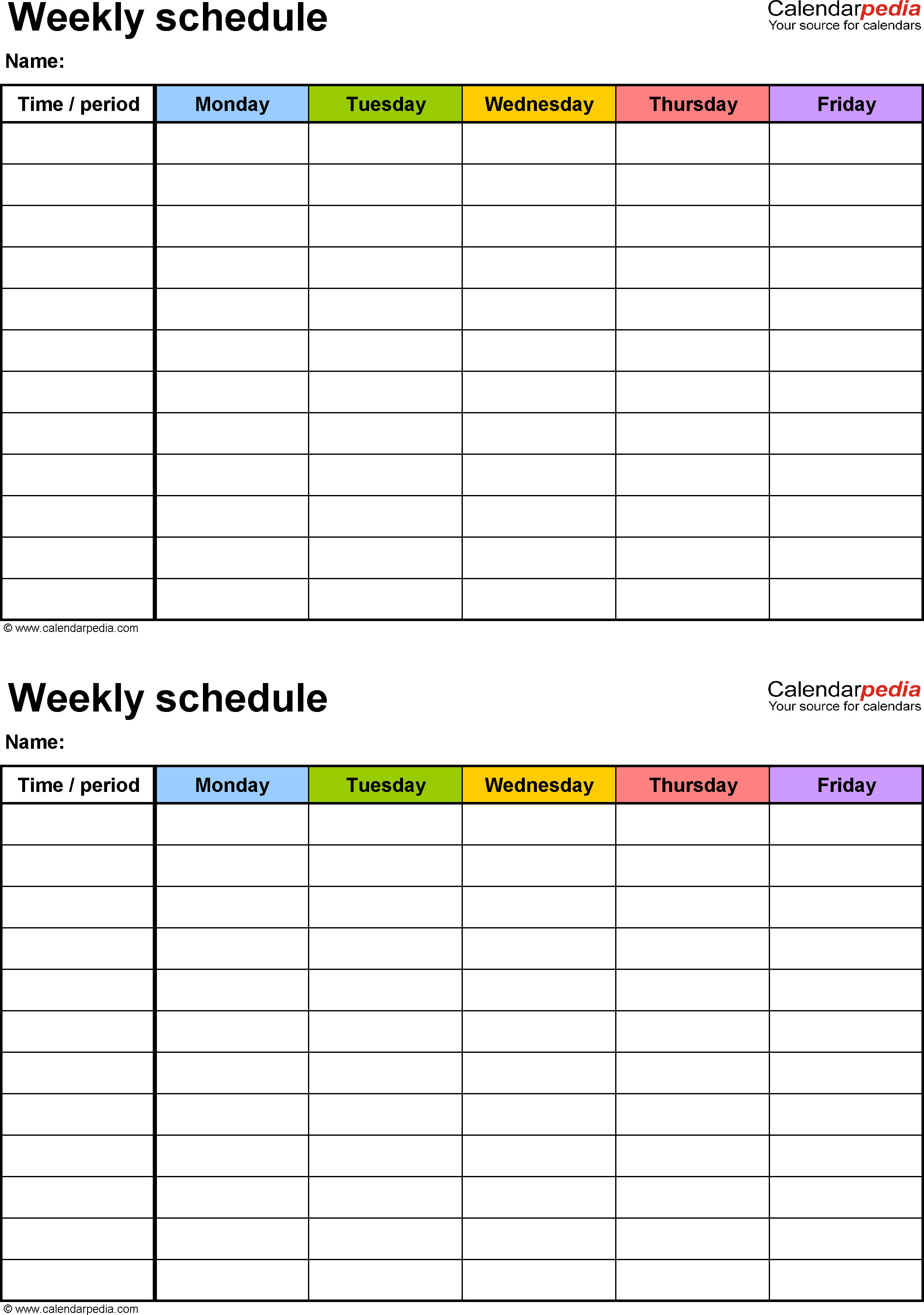 Printable Weekly Schedule Template Free Weekly Schedule Templates for Word 18 Templates