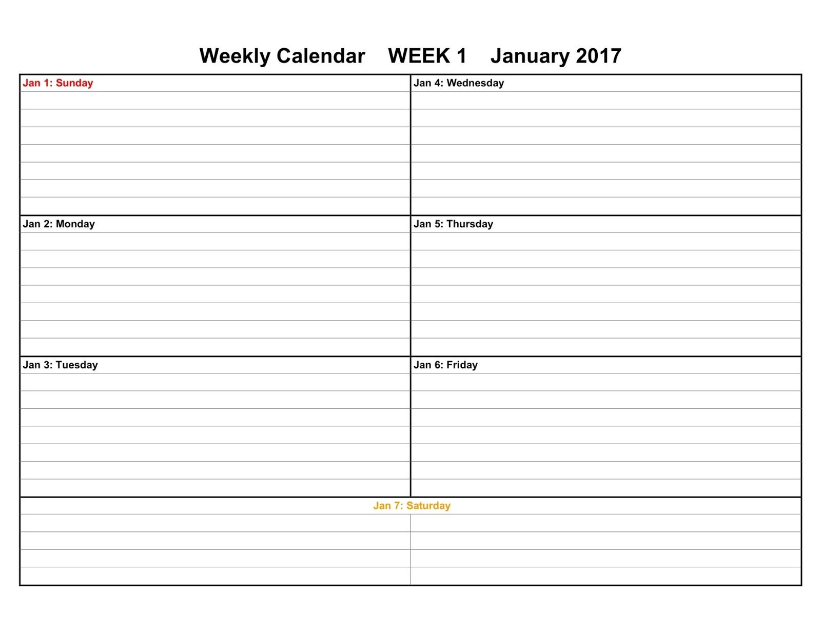 Printable Weekly Schedule Template Printable Calendars 2017 & 2018 Editable Printable Calendars
