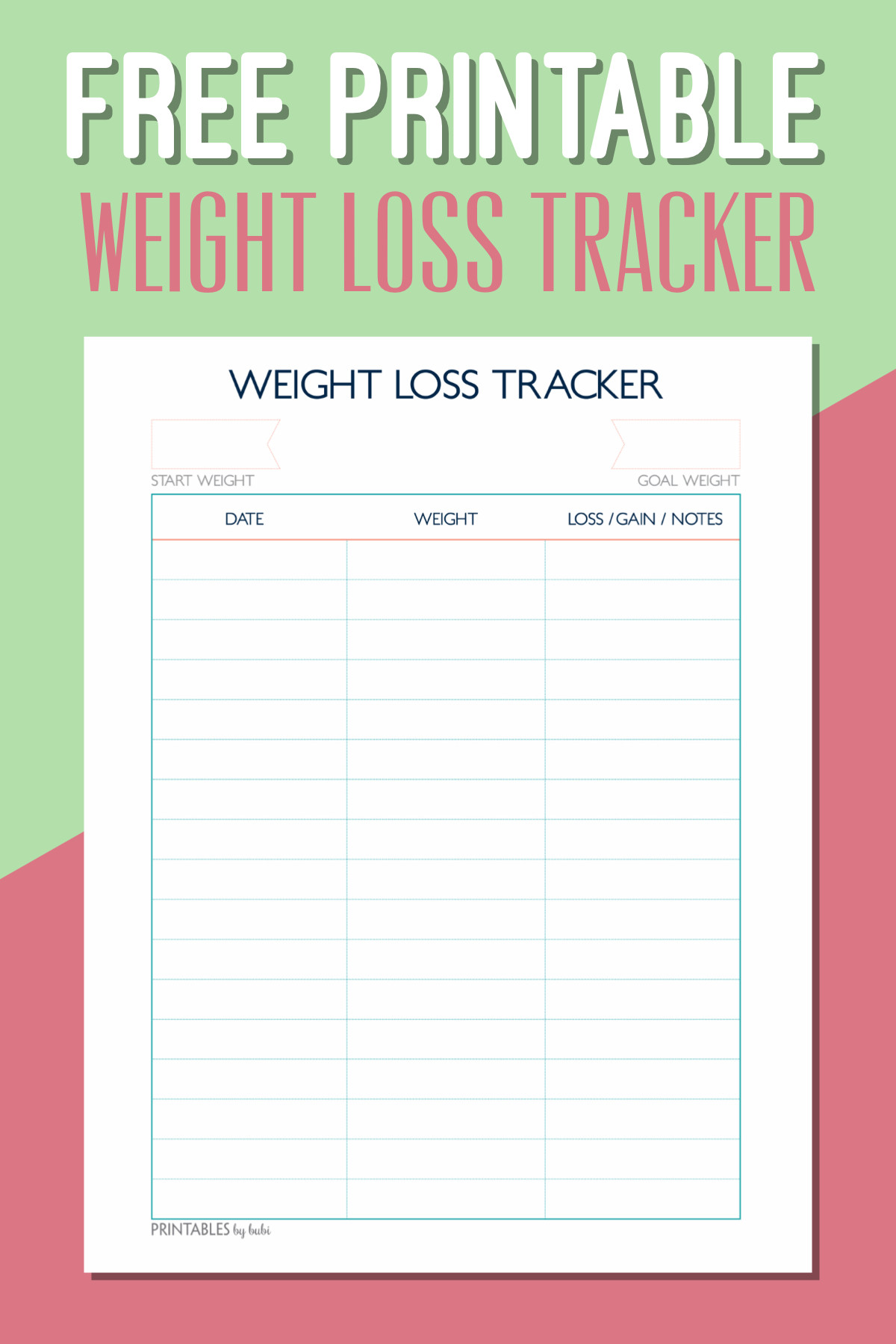 Printable Weight Loss Chart Free Printable Weight Loss Tracker – Instant Download Pdf