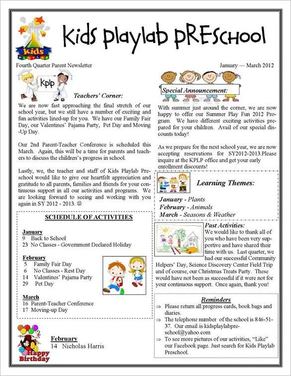 Printed Newsletter Templates Free 13 Printable Preschool Newsletter Templates Free Word