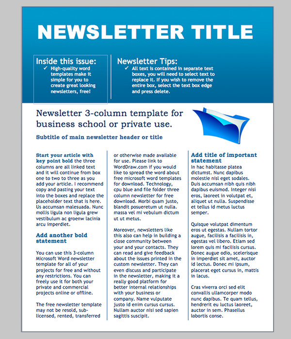 Printed Newsletter Templates Free Word Newsletter Template – 31 Free Printable Microsoft