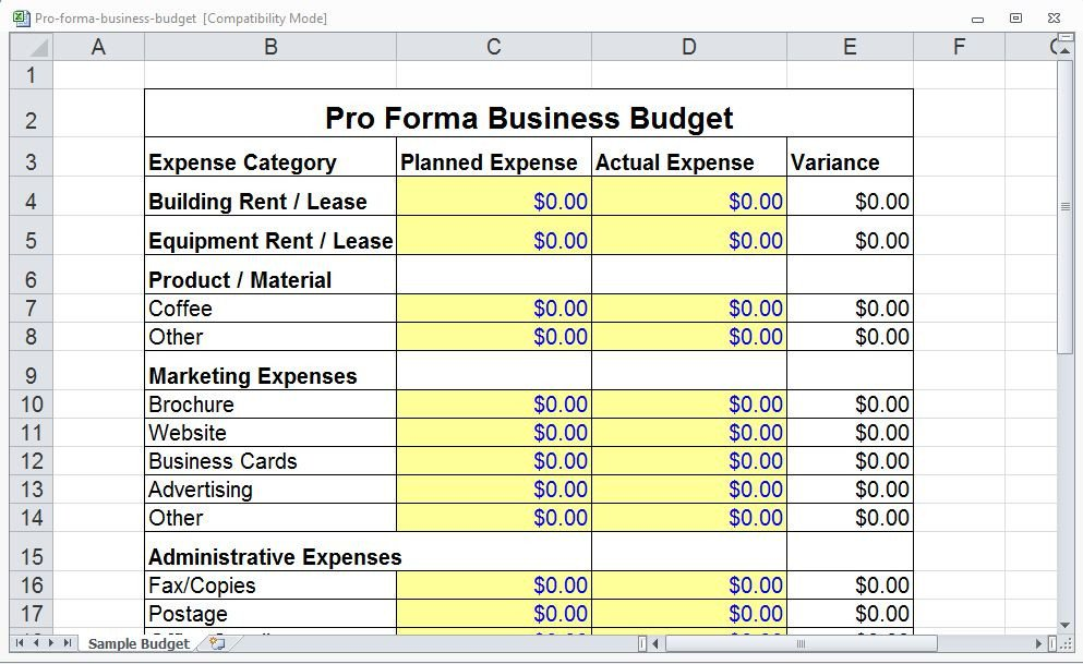 Pro forma Cash Flow Template 4 Pro forma Bud Templates Excel Xlts