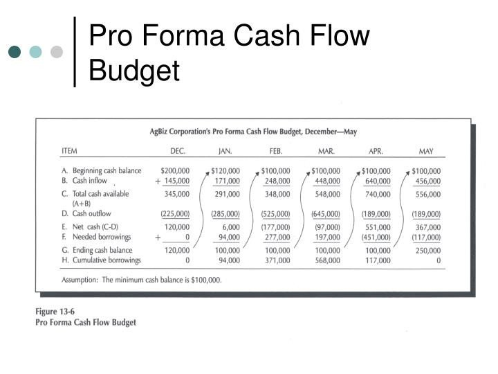 Pro forma Cash Flow Template Ppt Using Accounting Information Powerpoint Presentation