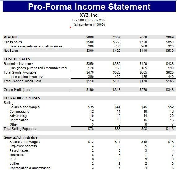 Pro forma Cash Flow Template Pro forma Financial Statement Template