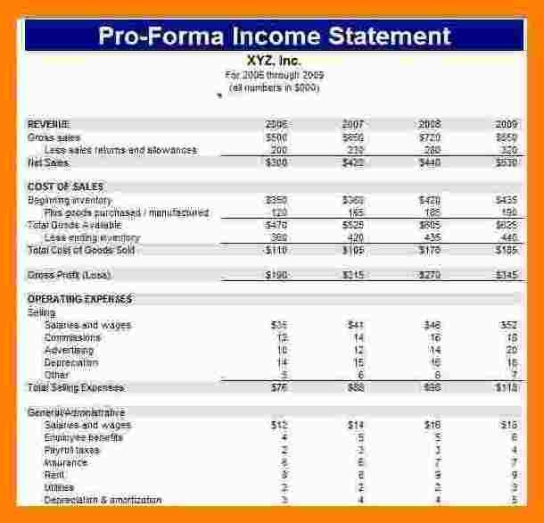 Pro forma Financial Statement Template 12 Pro forma Financial Statement Template