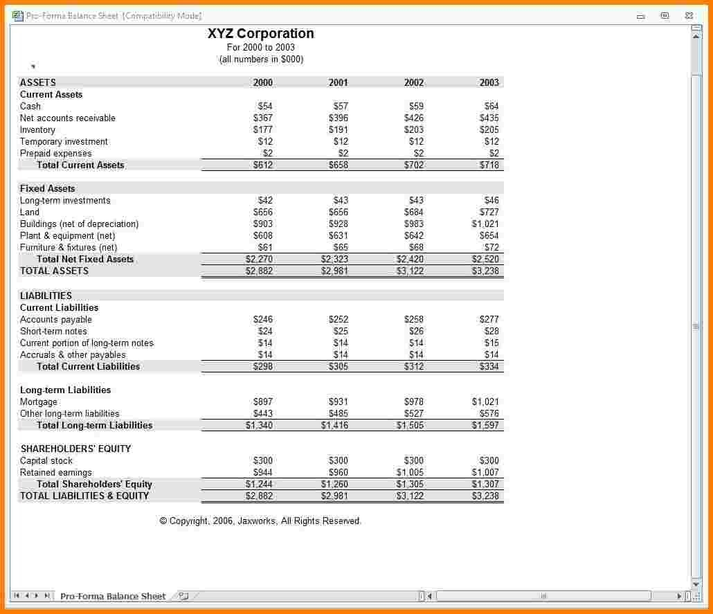 Pro forma Financial Statement Template 7 Pro forma In E Statement Template