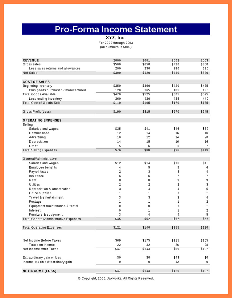 Pro forma Financial Statement Template 9 Pro forma In E Statement Template Excel