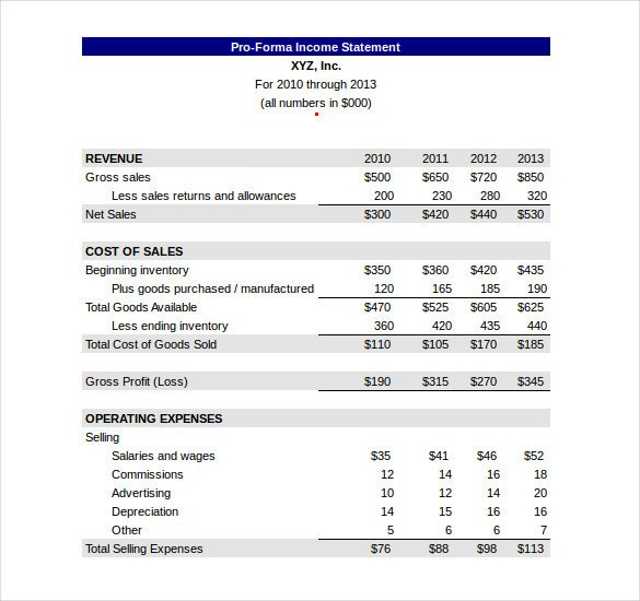 Pro forma Financial Statement Template In E Statement Template 23 Free Word Excel Pdf