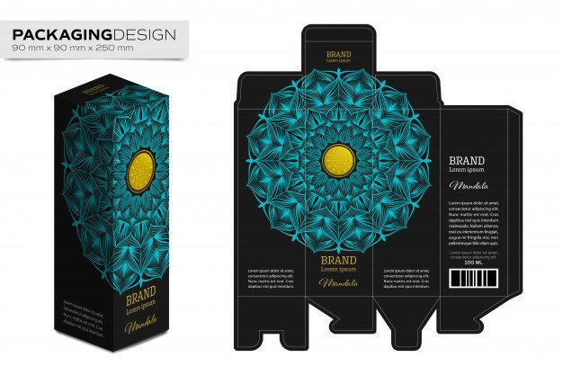 Product Packaging Design Templates Packaging Box Design Template Layout with Mandala Vector