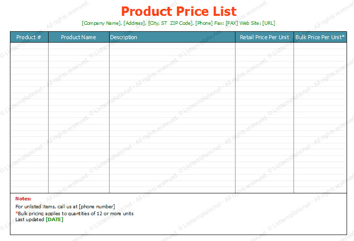 Product Price List Template Free Printable Price List Templates
