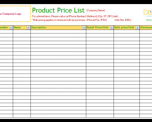 Product Price List Template Party Guest List Template Word Dotxes