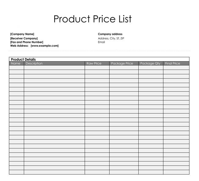 Product Price List Template Price List Templates Free Samples and formats for Excel