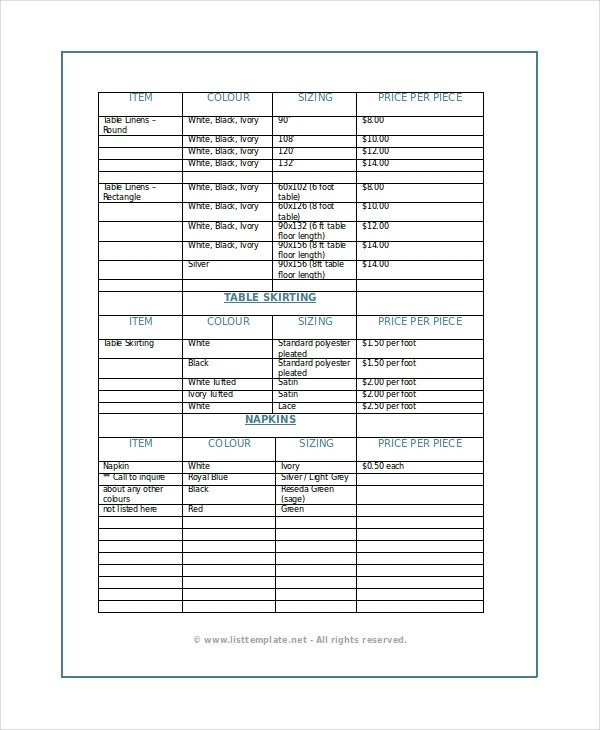 Product Price List Template Product List Template 6 Free Word Pdf Document