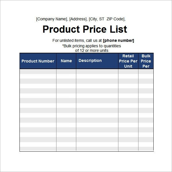 Product Price List Template Sample Price List Template 5 Documents Download In Pdf