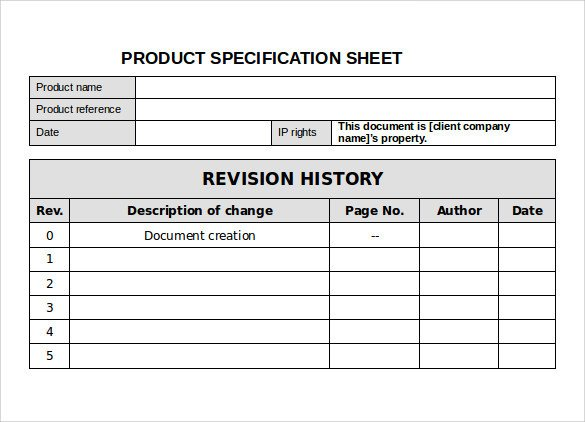 Product Spec Sheet Template Specification Sheet Sample – 11 Documents In Pdf