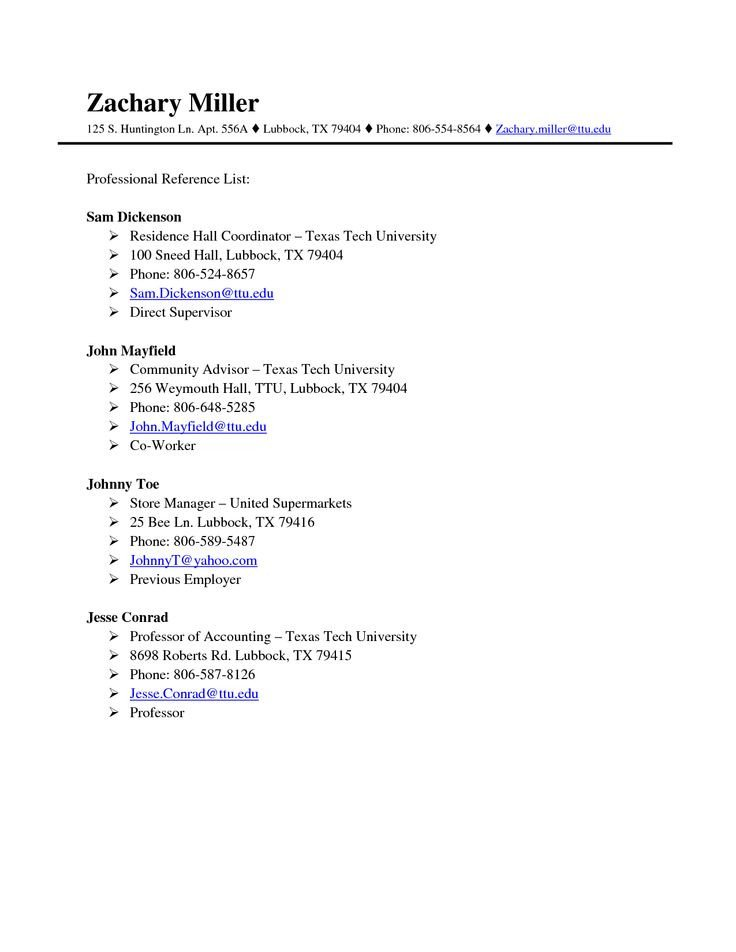 Professional Reference List Template Professional References Page Template