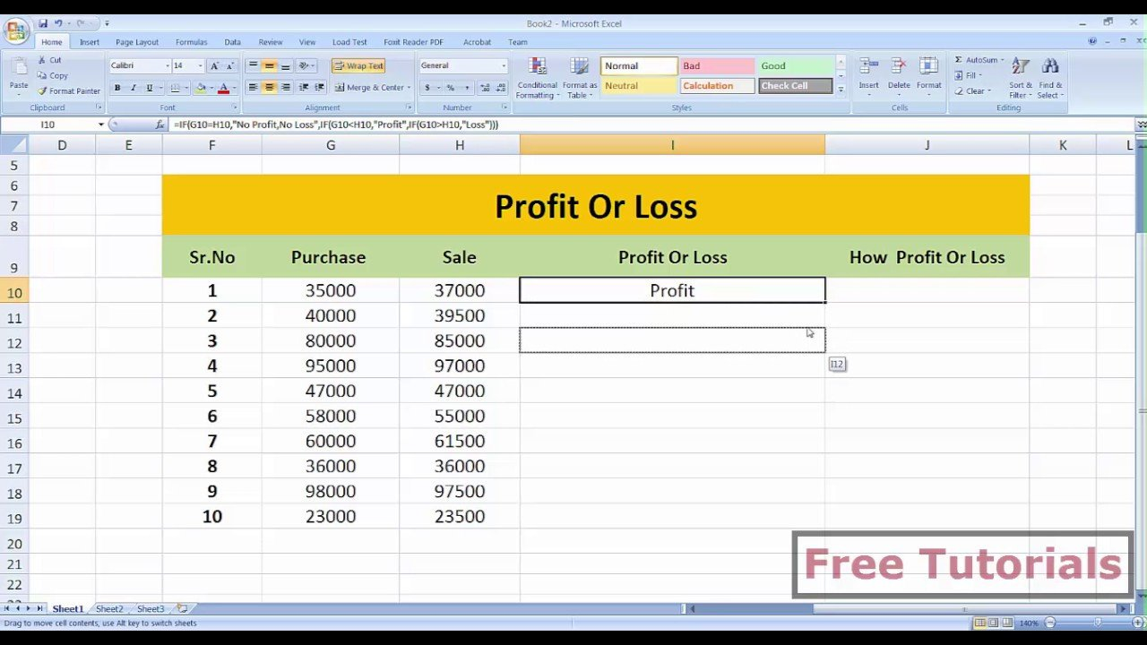 Profit Loss Template Excel How Calculate Profit and Loss In Ms Excel by Free