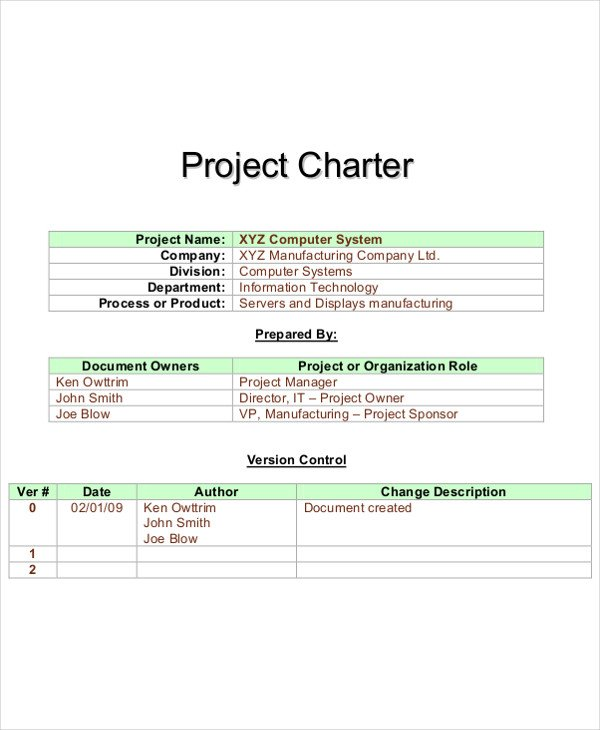 Project Charter Template Excel Project Charter Example