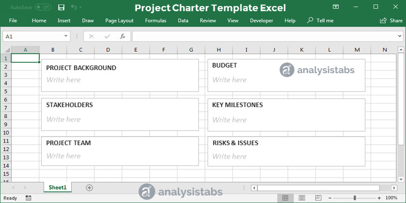 Project Charter Template Excel Project Charter Template Excel Analysistabs Innovating