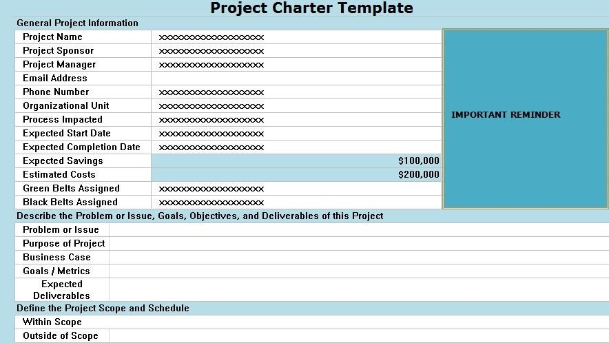 Project Charter Template Excel Project Charter Template Excel Projecttactics