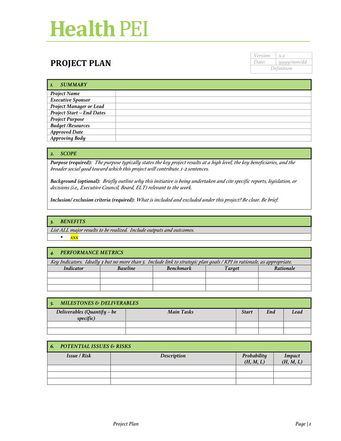 Project Charter Template Excel Project Charter Template Free Documents for Pdf