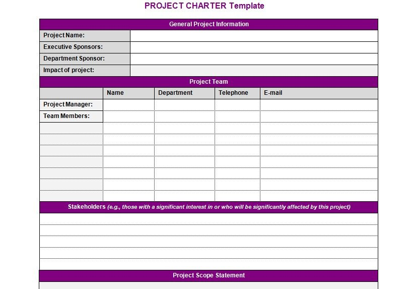 Project Charter Template Excel Project Charter Template