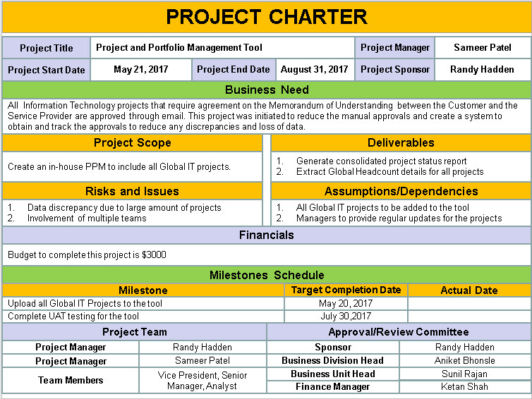 Project Charter Template Excel Project Charter Template Ppt Download Free Project