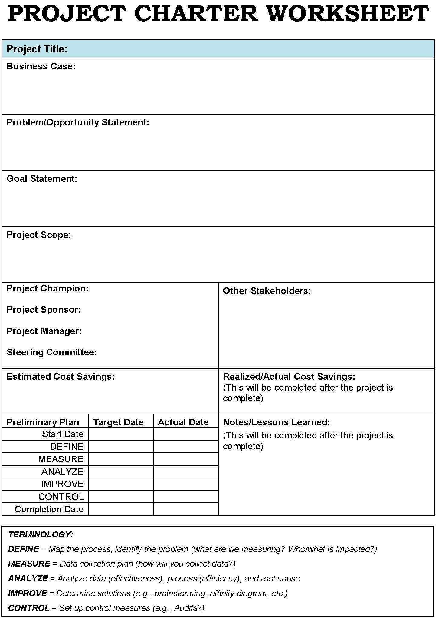 Project Charter Template Excel Project Charter Templates Google Search