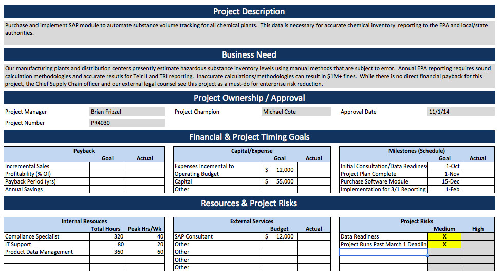 Project Charter Template Excel software Project Charter Example – Project Charter
