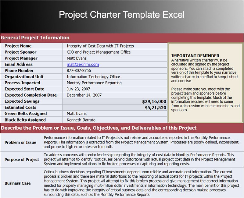 Project Charter Template Excel Write My Essay original Content Management Free