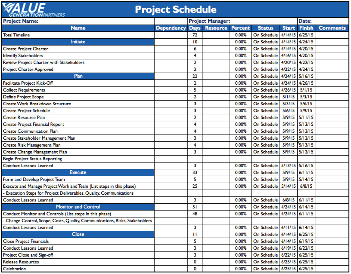 Project Management Schedule Template Operational Excellence – Page 7 – Value Generation