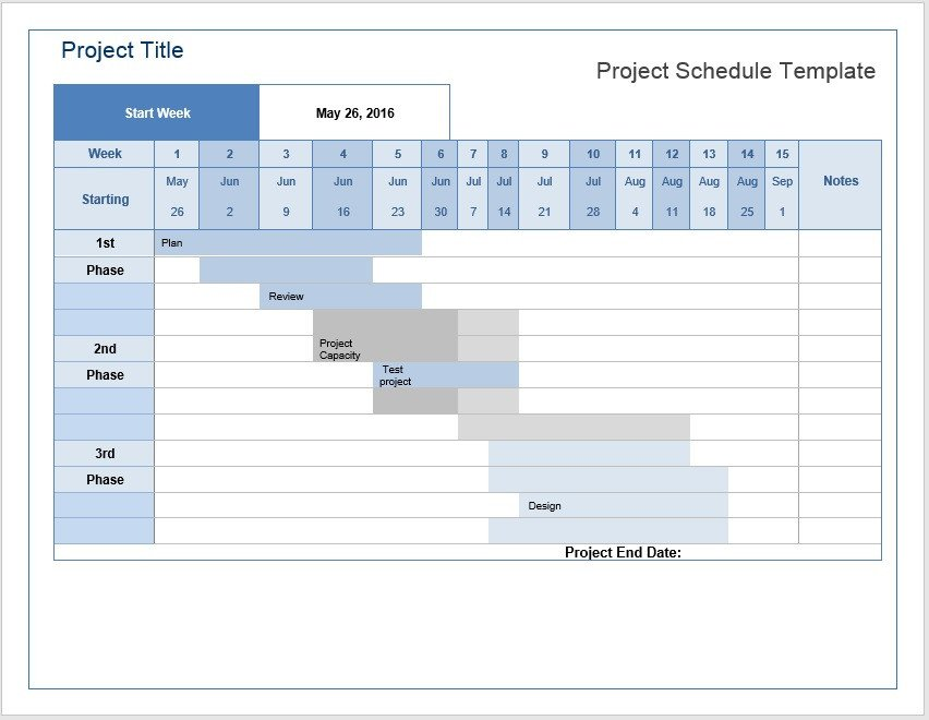 Project Management Schedule Template Project Schedule – Word Template – Microsoft Word Templates