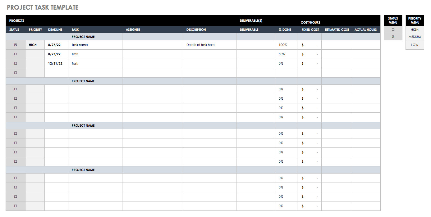 Project Management Task List Template 30 Free Task and Checklist Templates