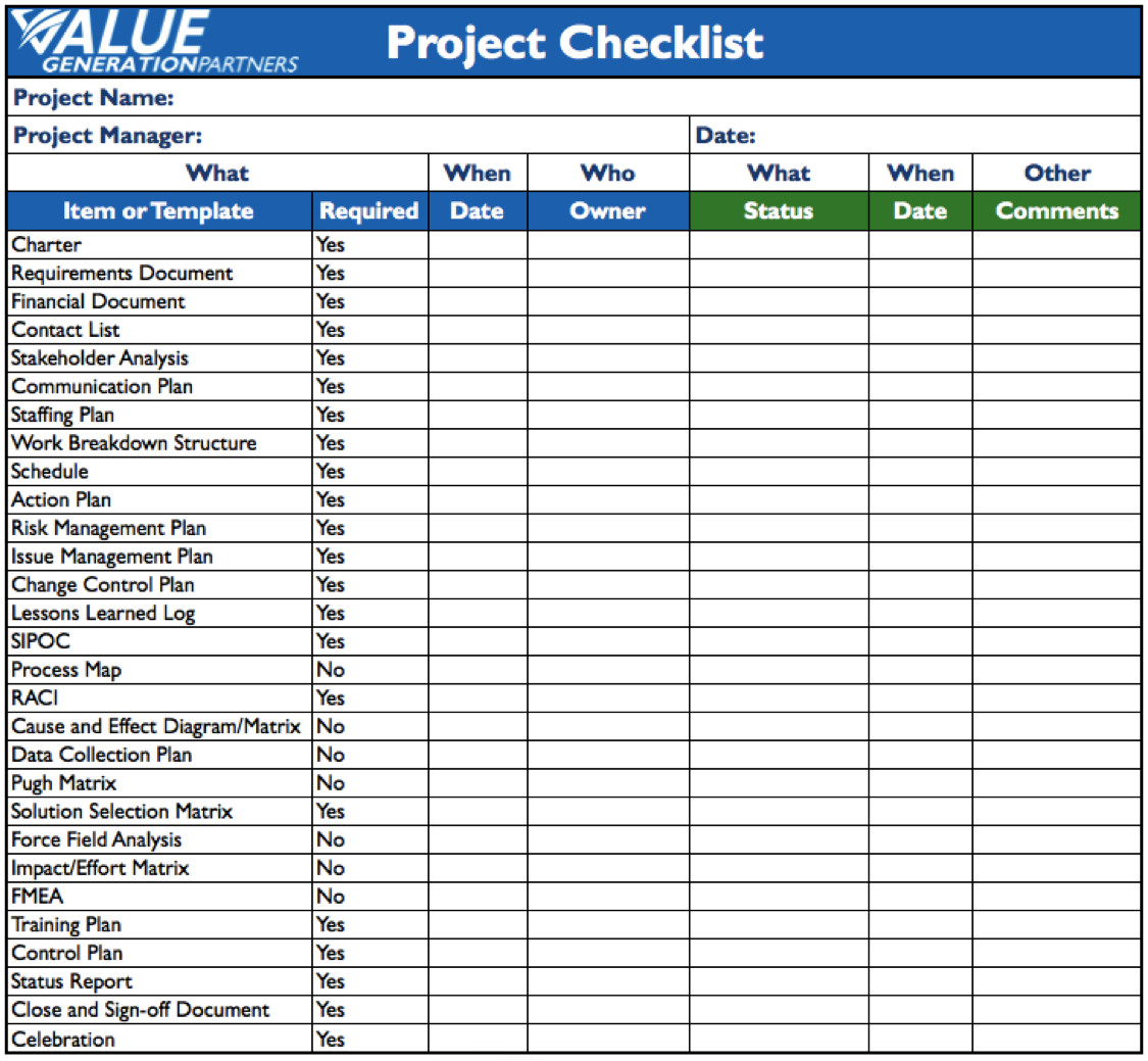 Project Management Task List Template Generating Value by Using A Project Checklist – Value