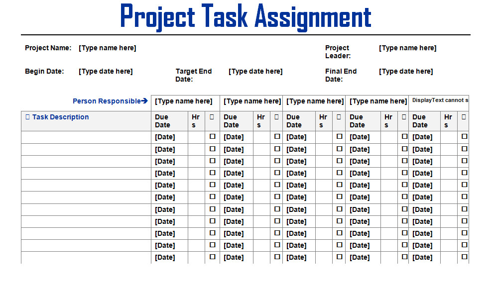 Project Management Task List Template Project Task assignment Word Template Microsoft Project