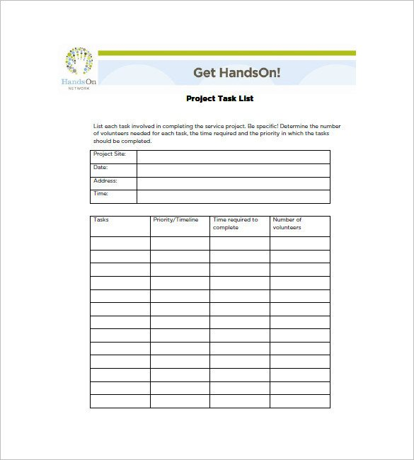 Project Management Task List Template Project Task List Template 10 Free Word Excel Pdf