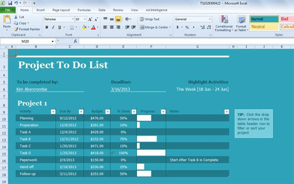 Project Management Task List Template Project Task List Template for Excel 2013