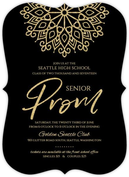 Prom Ticket Template Free Elegant Faux Gold Glitter Senior Prom Invitation